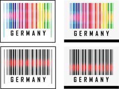 eps 10 vector illustration of barcode or bar code icon and red laser sensor beam - stock illustration