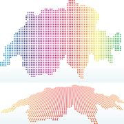 Eps 10 vector illustration of political map of switzerland with with dot pattern Stock Illustration