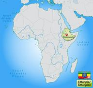 map of ethiopia with main cities in pastel green - stock illustration