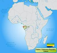map of gabon with main cities in pastel green - stock illustration