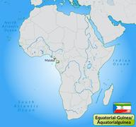 map of equatorial guinea with main cities in pastel green - stock illustration