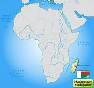 map of madagascar with main cities in pastel green - stock illustration