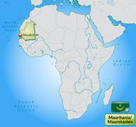 map of mauritania with main cities in pastel green - stock illustration