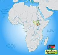 map of south sudan with main cities in pastel green - stock illustration