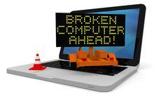 Broken computer - stock illustration