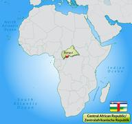 map of central african republic with main cities in pastel green - stock illustration