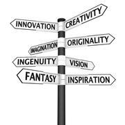 Stock Illustration of Creativity crossroads sign