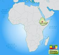 Map of ethiopia with main cities in pastel green Stock Illustration