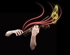 hands playing  wooden violin with notes flying - stock illustration