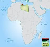 Map of libya with main cities in pastel green Stock Illustration