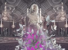 Lady in a luxury palace indoor, fineart photography, white pigeons Stock Illustration