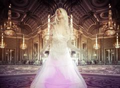 lady in a luxury palace indoor, fineart photography - stock photo