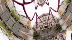 Psychedelic kaleidoscopic view of Berlin´s pink pipes Stock Footage