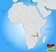 map of malawi with main cities in pastel green - stock illustration