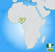 Stock Illustration of map of nigeria with main cities in pastel green