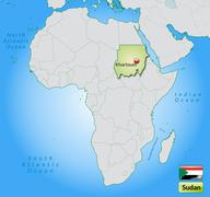 Map of sudan with main cities in pastel green Stock Illustration