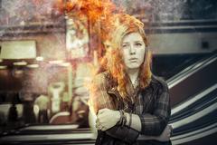 Vaara, tyttö tulipalo rautatieasemalta, ajan mittaan, riski Piirros