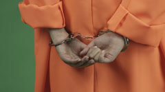 young asian adult woman prisoner isolated on green-screen background failure - stock footage
