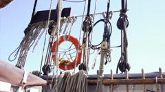Sailing ropes and blocks tracking Stock Footage