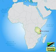 map of tanzania with main cities in pastel green - stock illustration