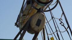 Sailing block on main sail Stock Footage