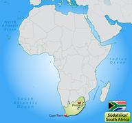 Map of south africa with main cities in pastel green Stock Illustration