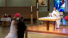 Stock Video Footage of Church priest communion