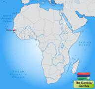 map of gambia with main cities in pastel orange - stock illustration