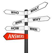 Questions and Answers Signpost - stock illustration