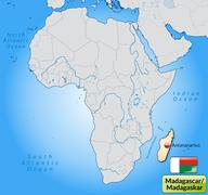 Map of madagascar with main cities in pastel orange Stock Illustration