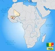 map of mali with main cities in pastel orange - stock illustration
