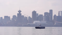 SeaBus and Vancouver Skyline from North Vancouver Stock Footage