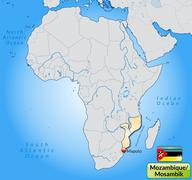 Map of mozambique with main cities in pastel orange Stock Illustration