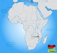 map of malawi with main cities in pastel orange - stock illustration