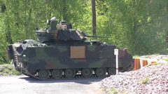 Bradley tanks at Grafenwoehr Range Stock Footage