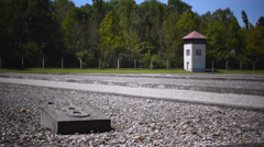 Dachau concentration camp memorial site Stock Footage