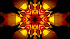 Retro Look Orange Glowing Kaleidoscope Background Stock Footage