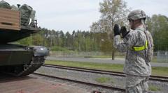 Loading Tanks on train, EAS Railhead Operations Stock Footage