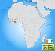 map of ivory coast with main cities in pastel orange - stock illustration