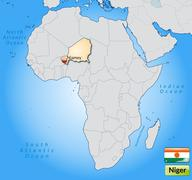 Map of niger with main cities in pastel orange Stock Illustration
