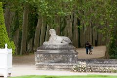 An avenue of trees in the grounds of the chateau of chenonceau in france. Stock Photos