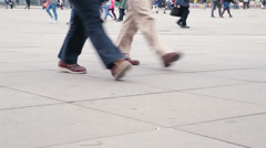 Stock Video Footage of Colorful busy pedestrian foot traffic in Alexanderplatz, Berlin, Germany