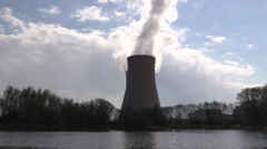 A  pond against nuclear power plant Stock Footage
