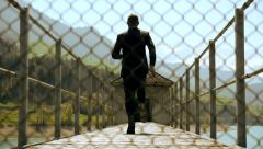 Running businessman. progress upwards. success. path road stairs. person man Stock Footage