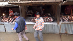 A local meat market 'Naga Bazar', Kohima, Nagaland, famous for trading livestock Stock Footage