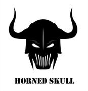 Stock Illustration of Horned Black Skull