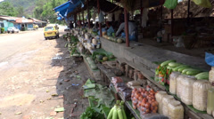 A roadside fruits and vegetables market on the way to Kohima, Nagaland Stock Footage
