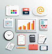 workplace office and business work elements set - stock illustration