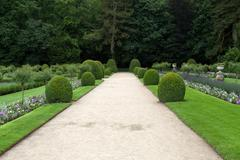 gardens at chateau chenonceau in the loire valley of france - stock photo