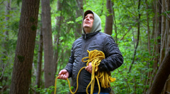 Man with noose in the  woods episode 1 Stock Footage